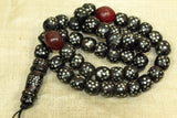 Antique Black Coral with Silver Inlay Beads, Prayer Necklace