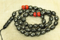 Classic Antique Black Coral with Silver Inlay Beads, Prayer Necklace