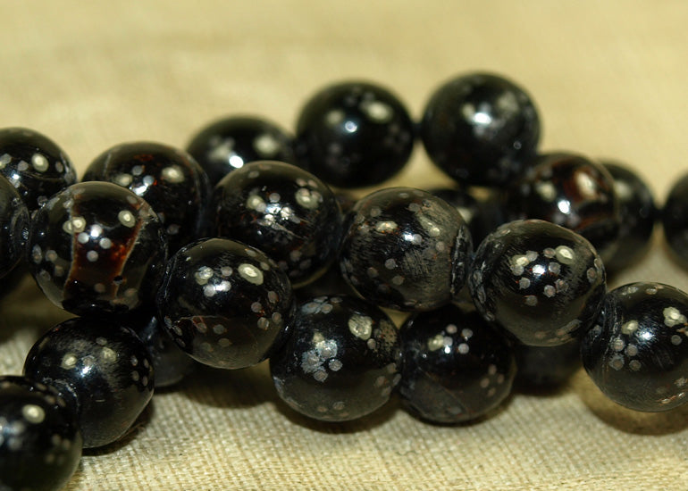 Small Vintage Black Coral and Silver Inlay Prayer Beads