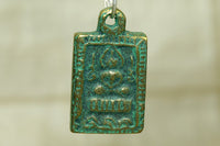Small Bronze Thai  Buddha Pendant with Green Patina
