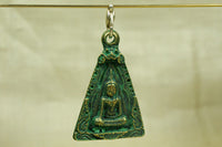 Bronze Thai  Buddha Pendant, with green patina