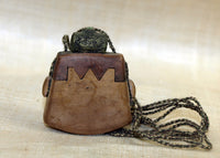 Traditional Indonesian Mini-Tobacco Palmwood and Brass Purse