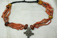 Berber Branch Coral, Silver, and Amber Necklace
