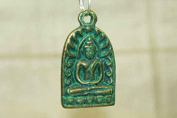 Brass Seated Buddha Pendant with green patina  from Thailand