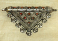 Large Silver and Carnelian Turkman Pendant
