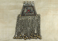Large Vintage Silver Afghan Pendant with Dangles