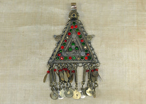 Vintage Silver Afghan Pendant with Dangles