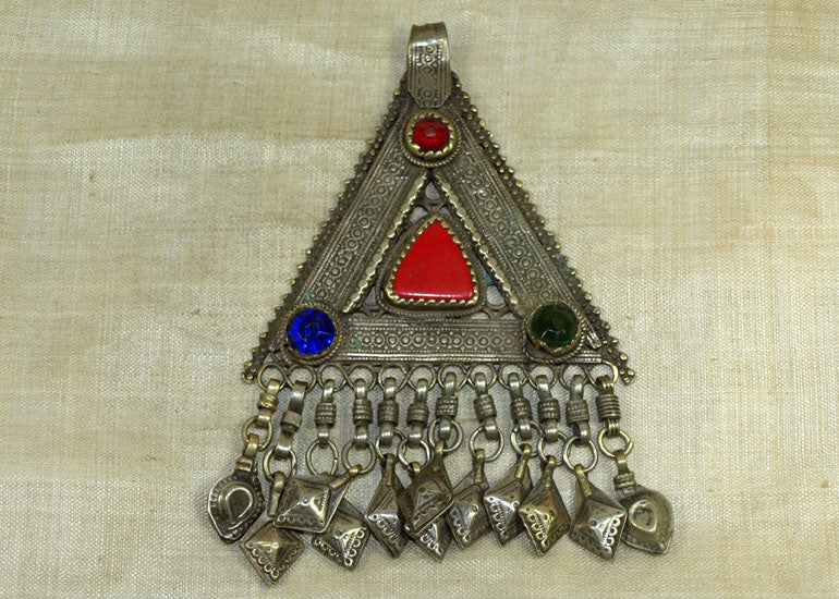 Heavy Vintage Silver Afghan Pendant with Dangles