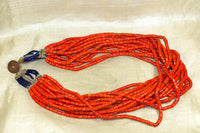 Multi-Strand Coral Glass Naga Necklace