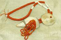 Antique Coral Glass and shell Naga Necklace