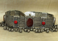 Vintage 1930s Silver and Carnelian Necklace from Morocco