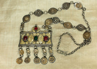 Vintage 1920s Silver and Gold Necklace from Afghanistan