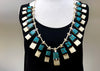 Vintage '50s Native American Turquoise, Jet, Shell, and Bone Necklace