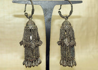 Antique Silver Earrings from Afghanistan, circa early 1900s