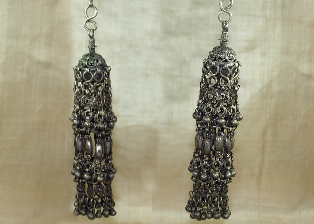 Pair of Antique Yemen Silver Earrings