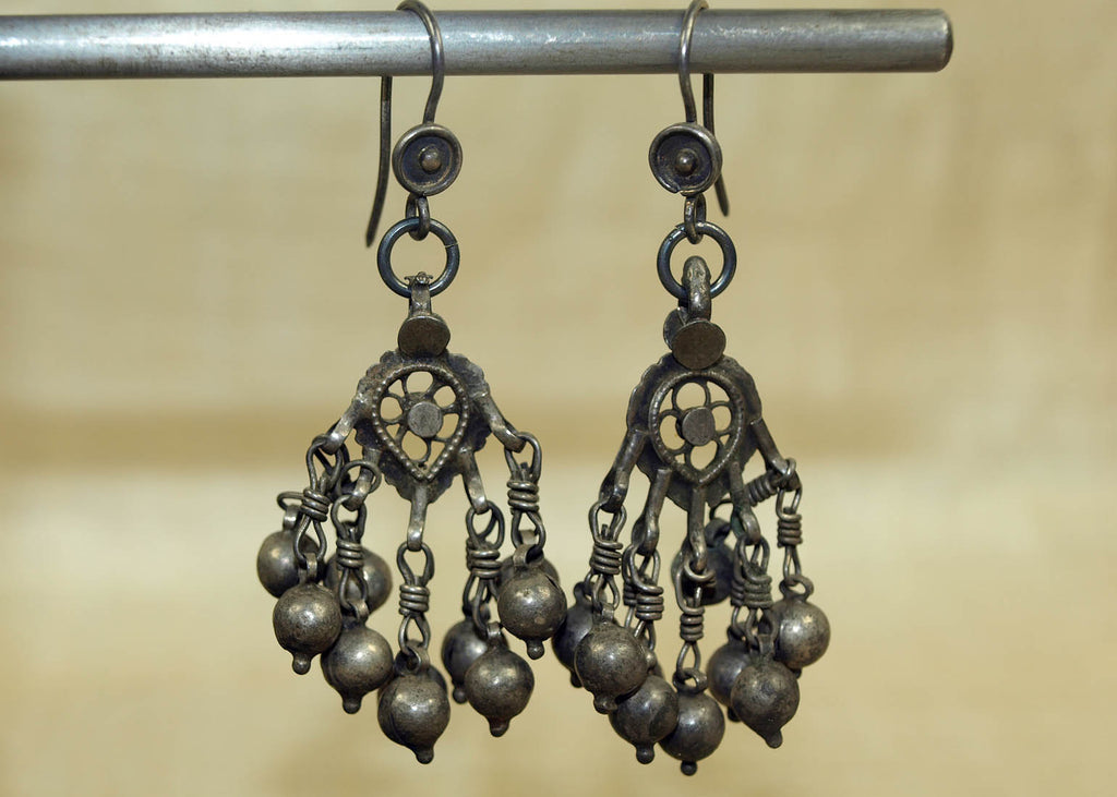 Pair of Vintage Silver Tassel Earrings from India