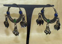 Enameled Antique Silver Hoops from India