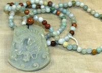 Burmese Jade Bead Necklack with Dragon Pendant