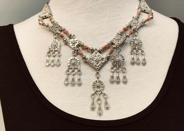 Vintage 1940s Yemen Silver and Coral Jewelry Set