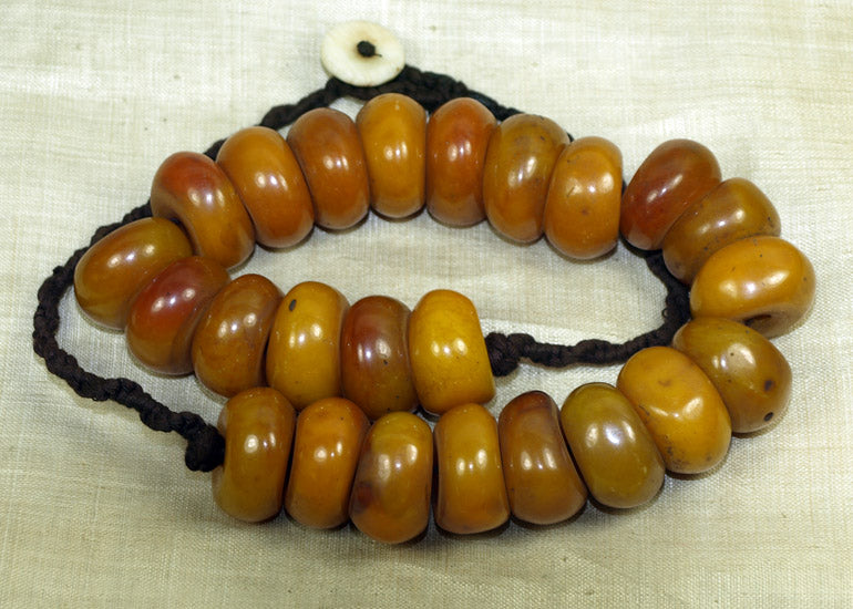Necklace of Large Faux Amber Beads from Nepal
