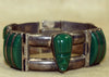 Vintage Mexican Sterling Silver Bracelet with Green Agate Stones