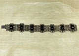 Vintage Mexican Sterling Silver Bracelet with Onyx Stones