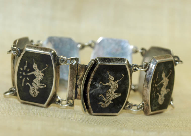 Vintage Siam Silver Bracelet, Hindu God and Goddesses