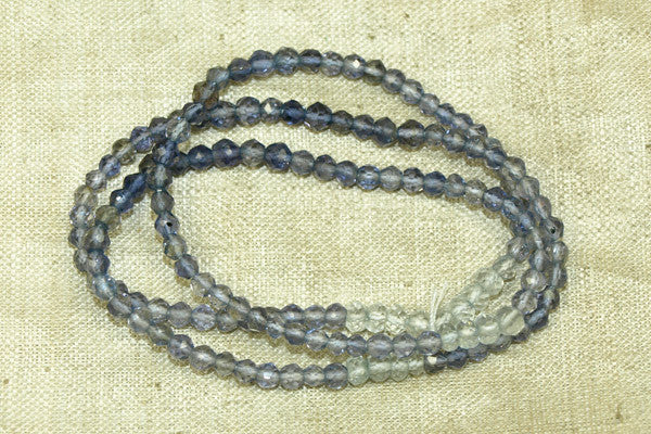 Faceted Light and Dark Blue Iolite Beads