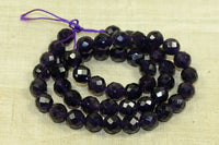 8mm faceted dark Amethyst rounds