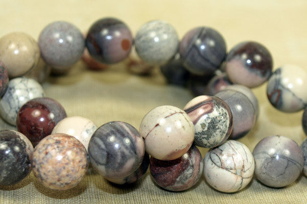 12mm GREY AND PINK Jasper Beads