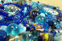 1/2 Pound of Mixed Dark Blue Glass Beads