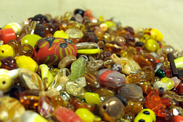 1/2 Pound of Mixed Yellow and Amber Glass Beads
