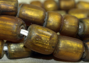 Vintage Gold Foil in Amber Glass Beads from Java