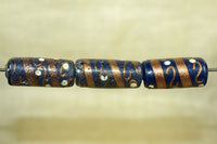 Venetian Deep Royal Blue Tube Bead w/ Aventurine