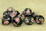 Black Venetian Bead with pink flowers