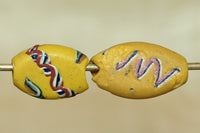 Pair of Small Yellow Tabular Beads from the 1800s