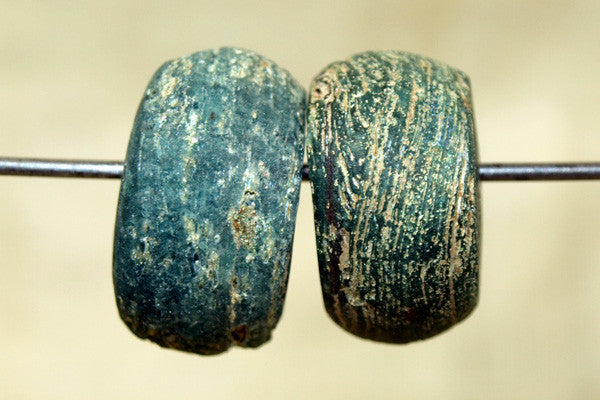 Pair of Blue Hebron Beads
