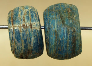 Pair of Rustic Blue Hebron Beads
