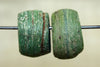 Pair of Rustic Green Hebron Beads