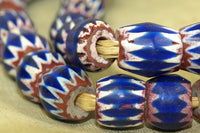 Strand of Antique Blue Chevron Beads