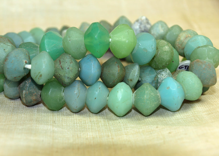 Large Seafoam Green Vaseline Beads from the 1800s