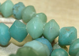 Strand of Large Seafoam Green Vaseline Beads from the 1800s