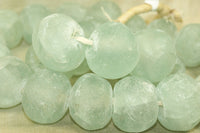ginormous transparent green Glass Beads from Ghana
