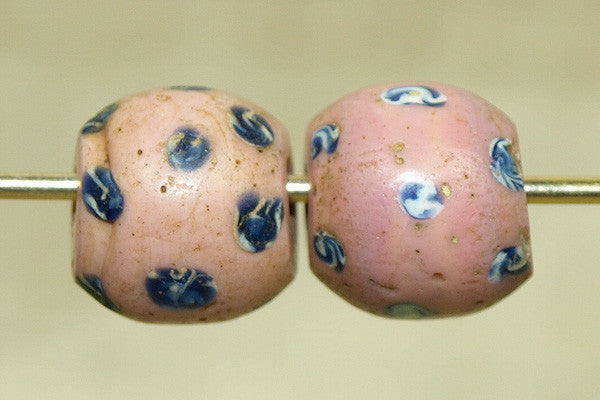 Venetian Pink w/Blue & White Polka Dot Bead, Pair