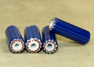 Small Antique Cylindrical Chevron Bead