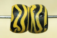 Pair of Antique Black and Yellow Venetian Glass Beads