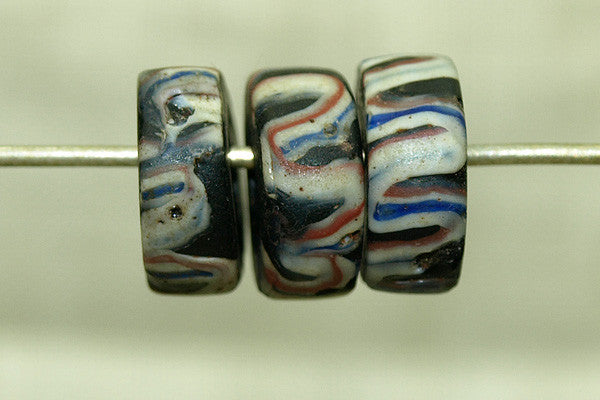 Antique Eja Beads, Black with Stripes