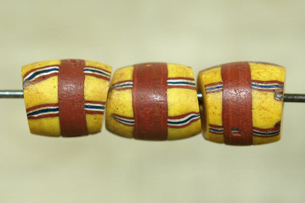 Yellow Venetian glass Bead with stripes