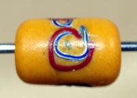 Vintage 1930s Yellow Glass Venetian Bead with swirly eyes