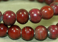 Antique Cranberry White and Yellow Heart Beads